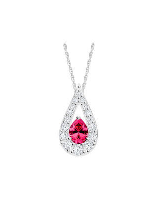 Silver Pendant Libra with cubic zirconia red 5242 55