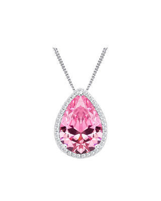 Bohemia Crystal Rose Silver Pendant with Cubic Zirconia 5225 69 - Pink - 1