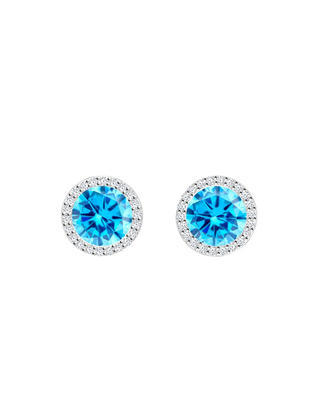 Bohemia Crystal Lynx Silver Earrings with Cubic Zirconia Preciosa, 5269 67 - Blue - 1