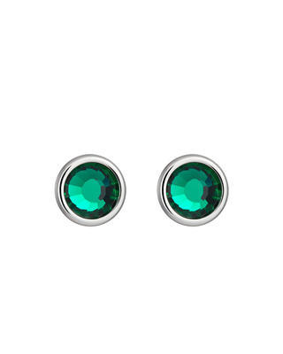 Earrings made of surgical steel Carlyn with Czech crystal - green 7235 66