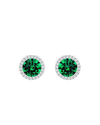 Bohemia Crystal silberne Ohrringe Lynx mit kubischem Zirkonium Preciosa – grün 5269 66 - 1