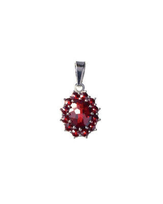 Silver pendant with Czech garnet - 1