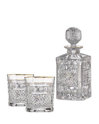 Bohemia Crystal handgeschliffenes Whiskyset Felicie Line Gold (1 Karaffe + 2 Whiskygläser)