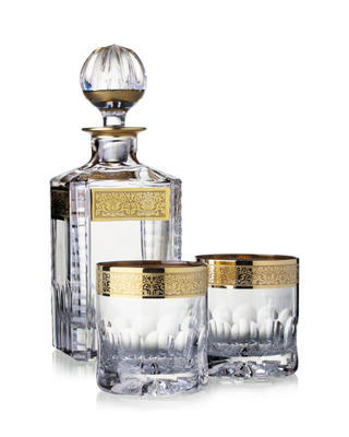 Bohemia Crystal ručne brúsený whisky set Romantic (1 karafa +2 poháre na whisky)