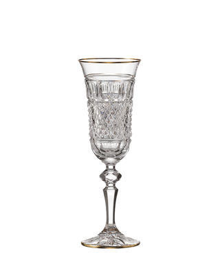 Bohemia Crystal Hand cut champagne glass Felicie Line Gold 150ml (set of 2pcs)