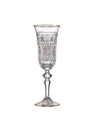 Bohemia Crystal Ručně broušené sklenice na šampaňské Felicie Line Gold 150ml (set po 2ks)