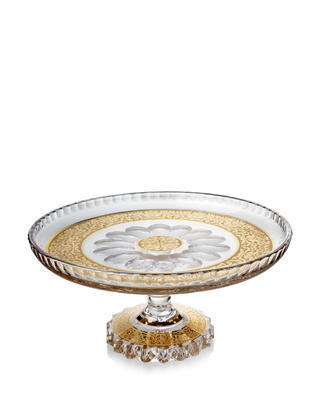 Bohemia Crystal Hand Cut Cake Plate Romantic with Foot 305mm