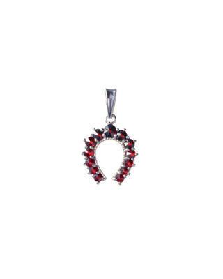 Silver pendant with Czech garnet Horseshoe - 1