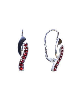 Silver earrings with Czech garnet (set of 2) - 1