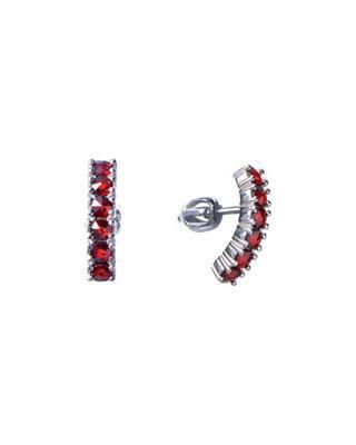 Silver earrings with Czech garnet (set of 2) - 1