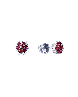 Silberne Ohrringe mit böhmischem Granat (Set mit 2 Stück) - 1