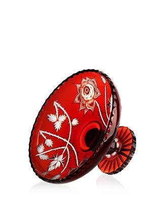 Bohemia Crystal ručne brúsená misa na nohe - divoká ruža červená 355mm - 2