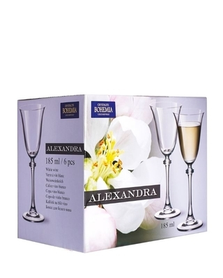 Bohemia Crystal Sklenice na bílé víno Alexandra 185ml (set po 6ks) - 2