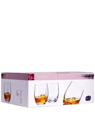 Bohemia Crystal whiskey glass Club optic Gold line 300ml (set of 6pcs) - 2