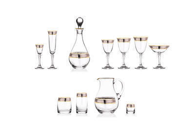 Bohemia Crystal Kleopatra Liqueur Glasses with Gold/Platinum Decor 43249/050ml (set of 6 pcs) - 2