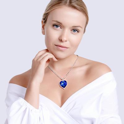 Bohemia Crystal Štrasový náhrdelník srdce s českým krištáľom Preciosa - modrý  2025 46 - 2