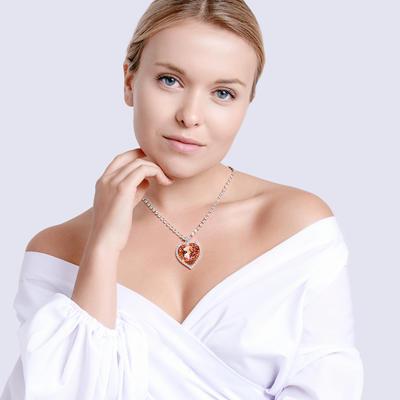 Bohemia Crystal Strass Necklace Heart with Czech Crystal Preciosa - Apricot 2025 49. - 2