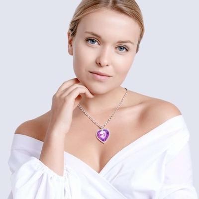 Bohemia Crystal Štrasový náhrdelník srdce s českým křišťálem Preciosa - violet   - 2
