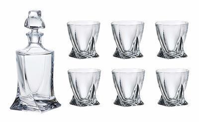 Bohemia Crystal Whisky set Quadro 99999/9/99A44/480 (set 1 karafa + 6 pohárov) - 2