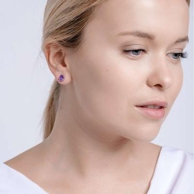 Bohemia Crystal Lyra Silver Earrings with Cubic Zirconia Preciosa 5265 56. - 2
