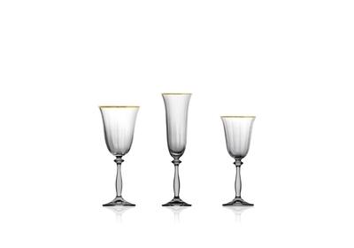 Bohemia Crystal Weingläser Angela Optic Gold Line 250 ml (Set mit 6 Stück) - 3