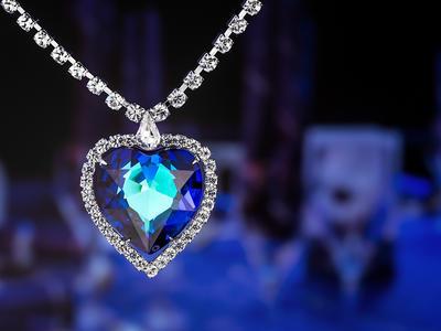 Bohemia Crystal Štrasový náhrdelník srdce s českým krištáľom Preciosa - modrý  2025 46 - 3