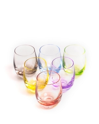 Bohemia Crystal Farebné poháre na pálenku Rainbow 25180/D4662/060ml (set po 6ks) - 3