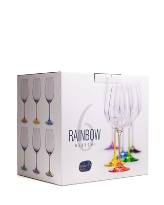 Bohemia Crystal Rainbow Wine Glasses 40729/D4641/350ml (set of 6 pcs) - 3