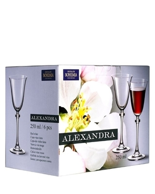 Bohemia Crystal Sklenice na víno Alexandra 250ml (set po 6ks) SLEVA-poškozená krabice - 4