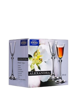 Bohemia Crystal Alexandra liqueur glass 60ml (set of 6pcs) - 4