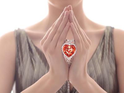 Bohemia Crystal Strass Necklace Heart with Czech Crystal Preciosa - Apricot 2025 49. - 4