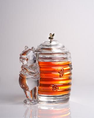 Bohemia Crystal Covered Honey Box Bear 53313/69710 / 150mm - 6